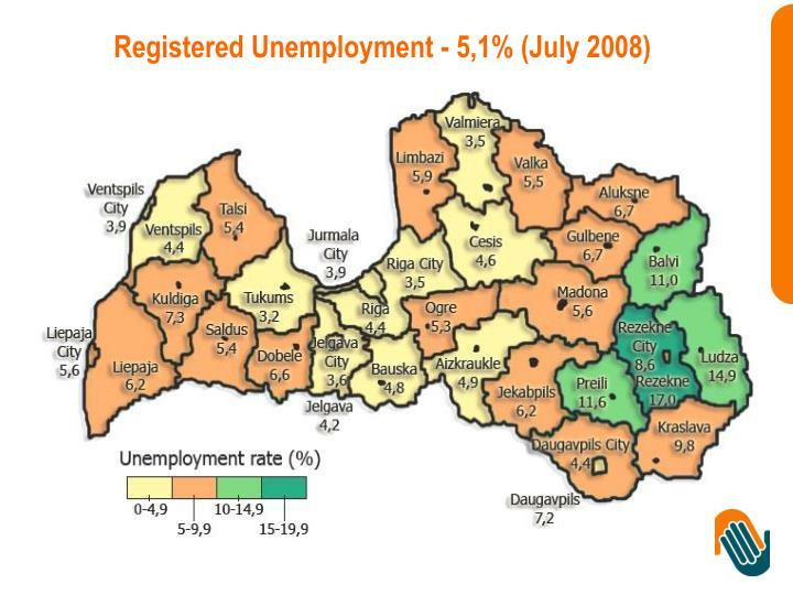 Registered Unemployment - 5,1% (July 2008)