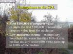 exemptions to the cpa