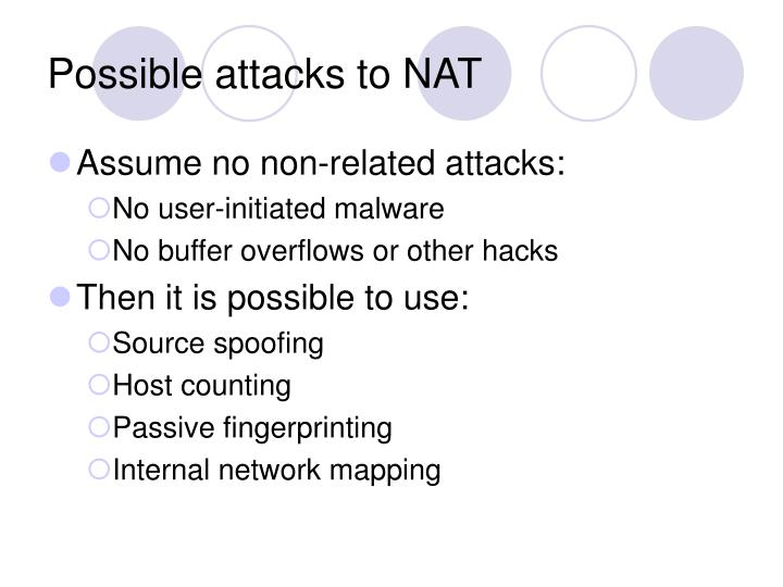 Possible attacks to NAT
