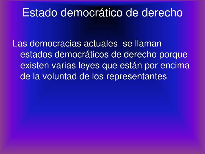 Estado democrático de derecho