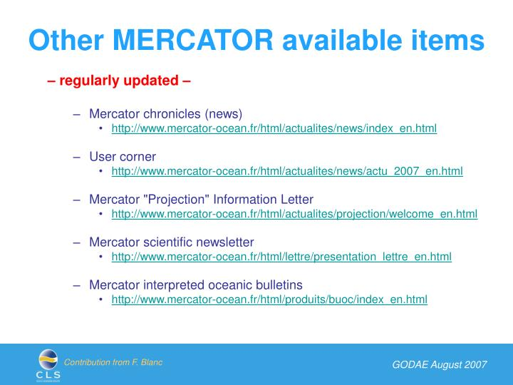 Other MERCATOR available items