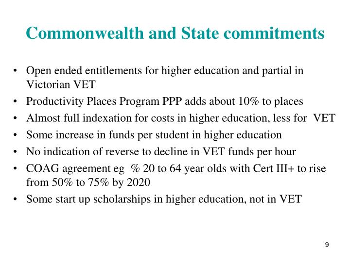 Commonwealth and State commitments