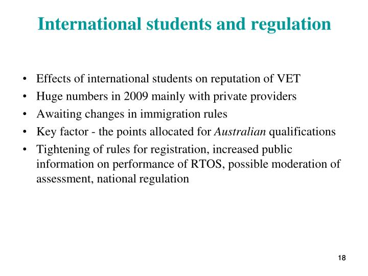 International students and regulation