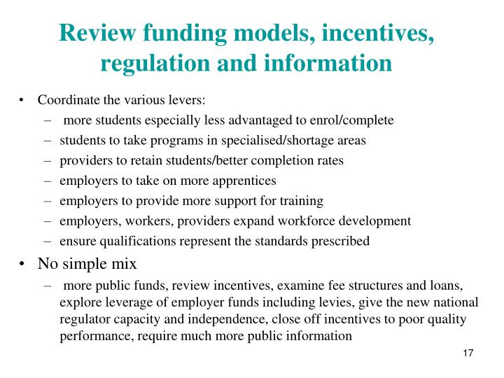 Review funding models, incentives, regulation and information