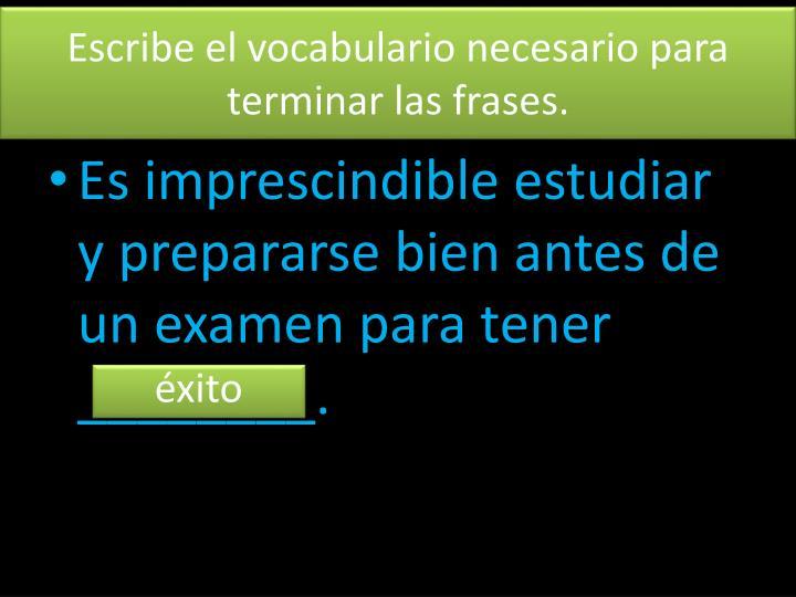 Escribe el vocabulario necesario para terminar las frases.
