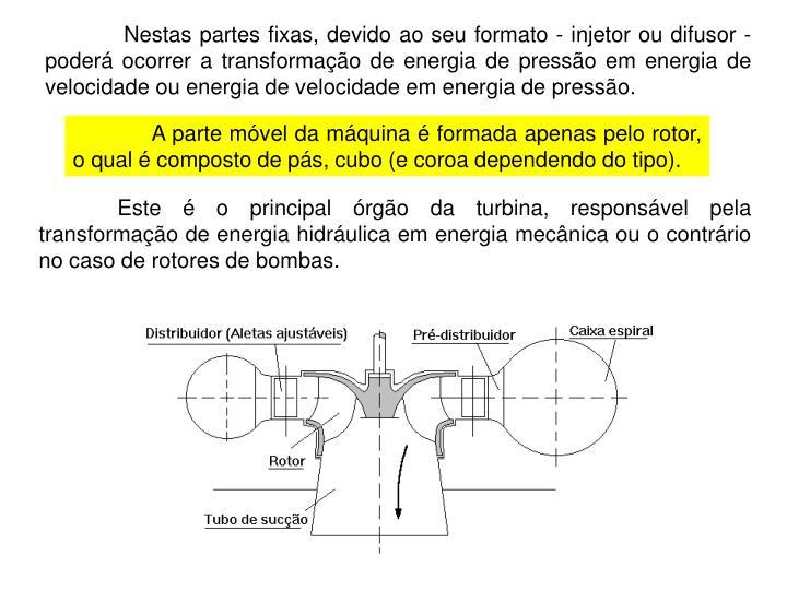 Nestas partes fixas, devido ao seu formato - injetor ou difusor - poderá ocorrer a transformação de energia de pressão em energia de velocidade ou energia de velocidade em energia de pressão.