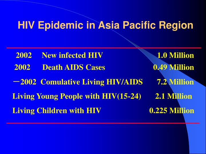 Hiv epidemic in asia pacific region
