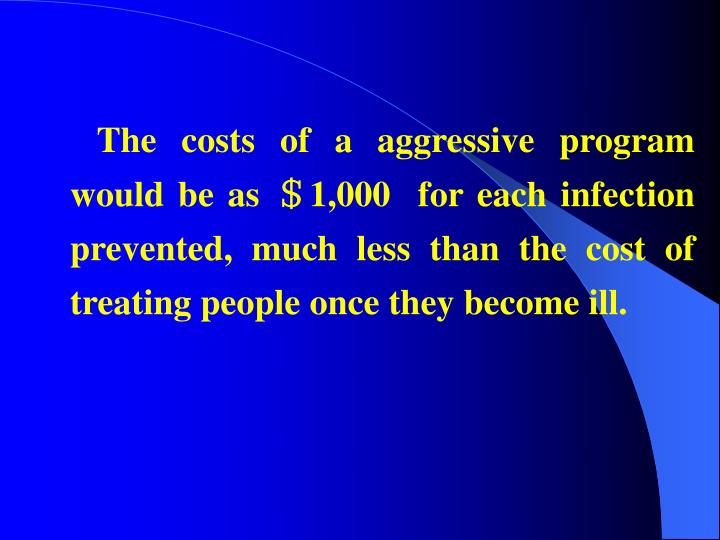 The costs of a aggressive program would be
