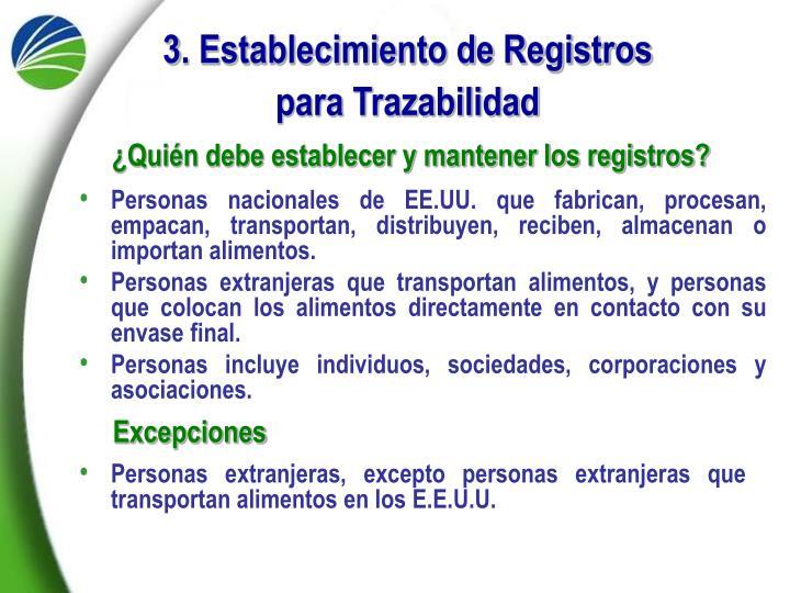 3. Establecimiento de Registros