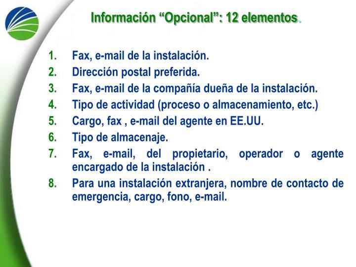 "Información ""Opcional"": 12 elementos"