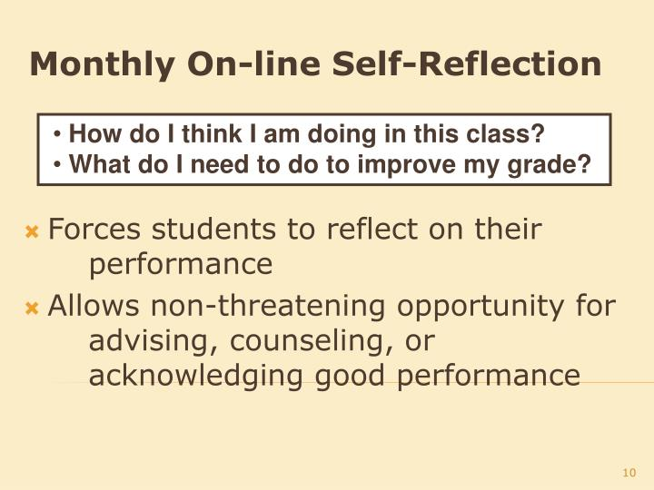 Monthly On-line Self-Reflection