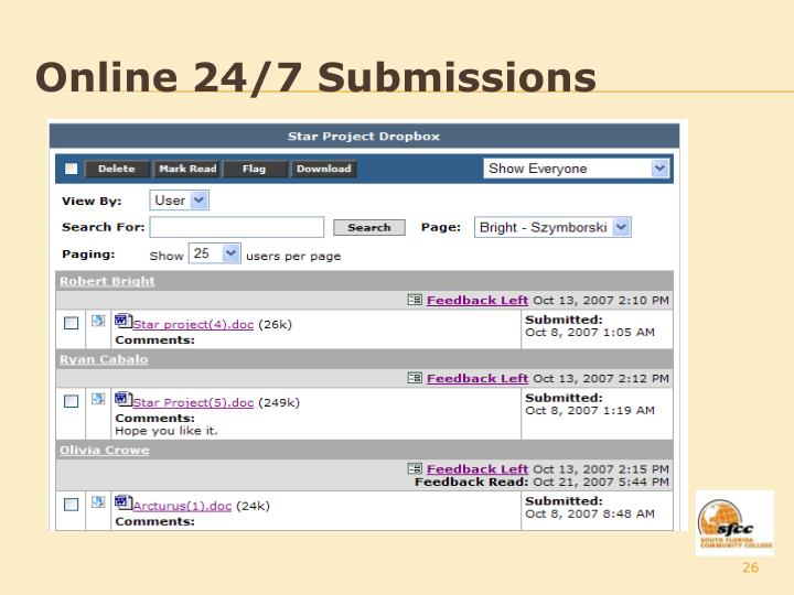 Online 24/7 Submissions