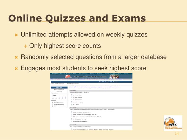 Online Quizzes and Exams