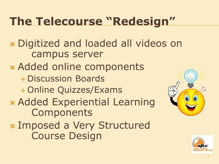 """The Telecourse """"Redesign"""""""