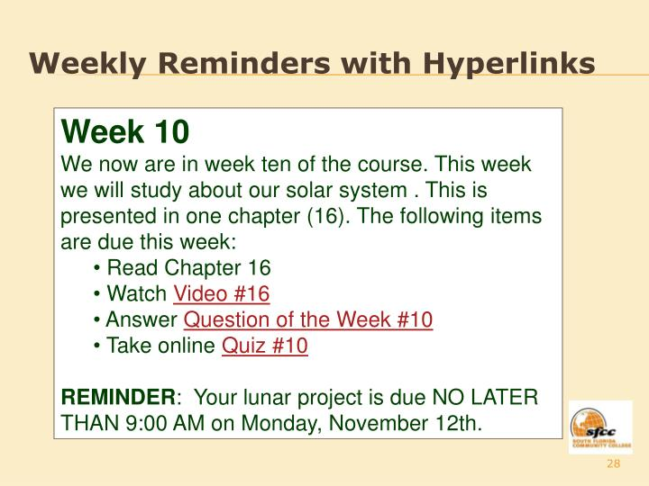 Weekly Reminders with Hyperlinks