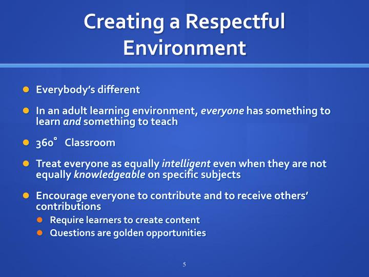 Creating a Respectful Environment