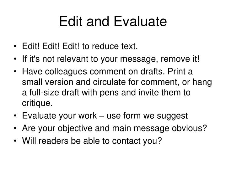 Edit and Evaluate