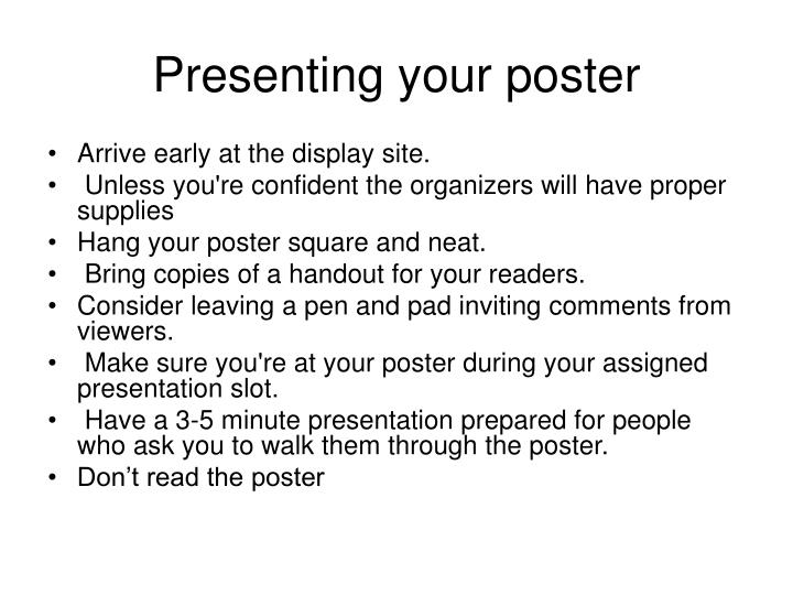Presenting your poster