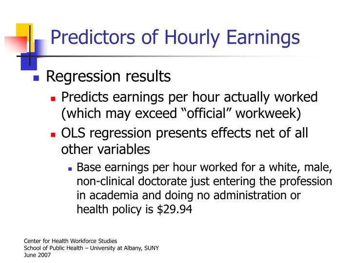 Predictors of Hourly Earnings