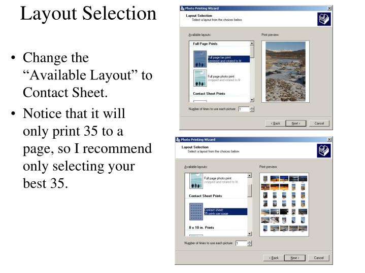 Layout Selection