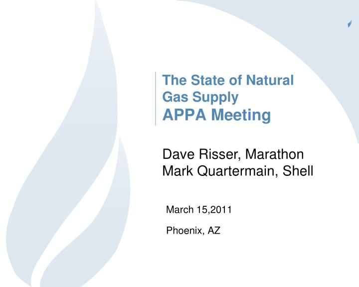 the state of natural gas supply appa meeting