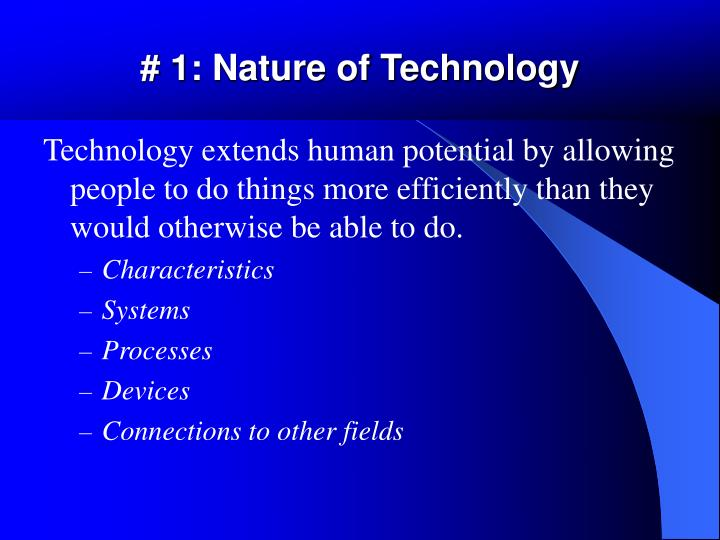 # 1: Nature of Technology