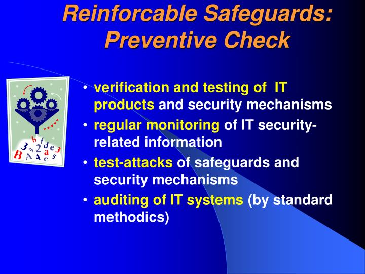 Reinforcable Safeguards: Preventive Check