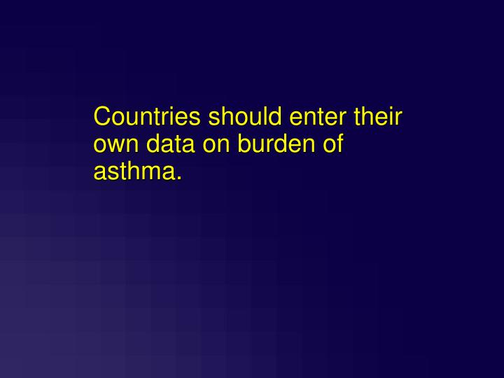 Countries should enter their own data on burden of asthma.