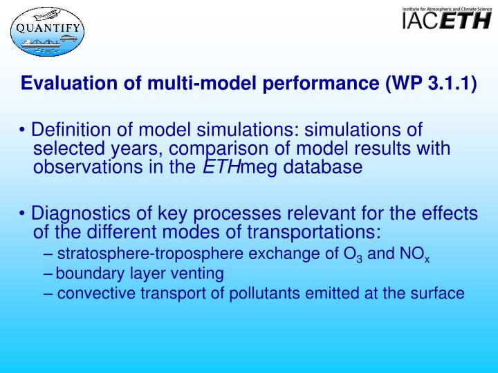 Evaluation of multi-model performance (WP 3.1.1)