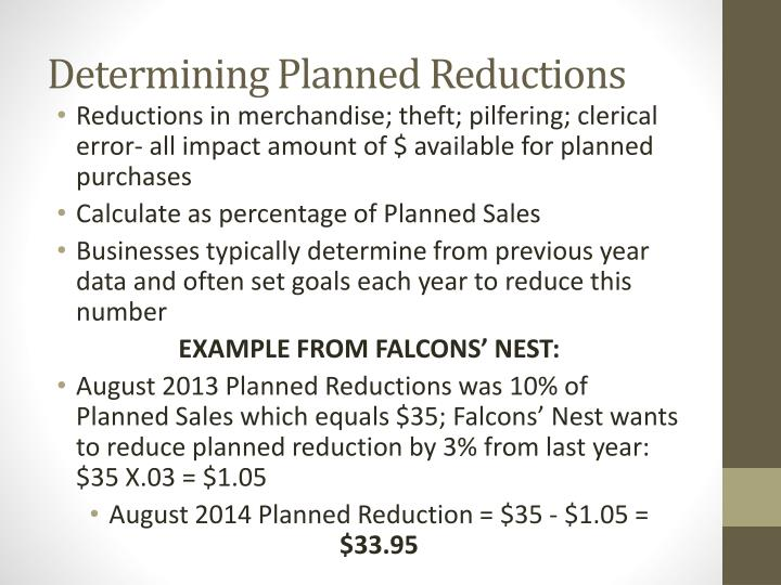 Determining Planned Reductions