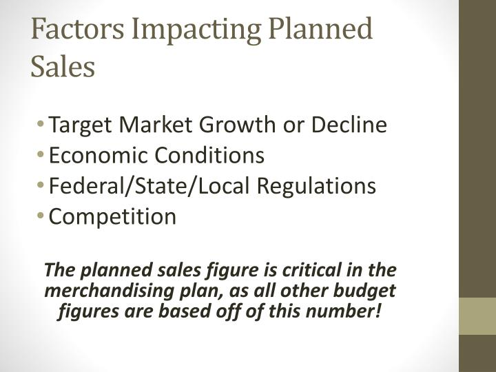 Factors Impacting Planned Sales