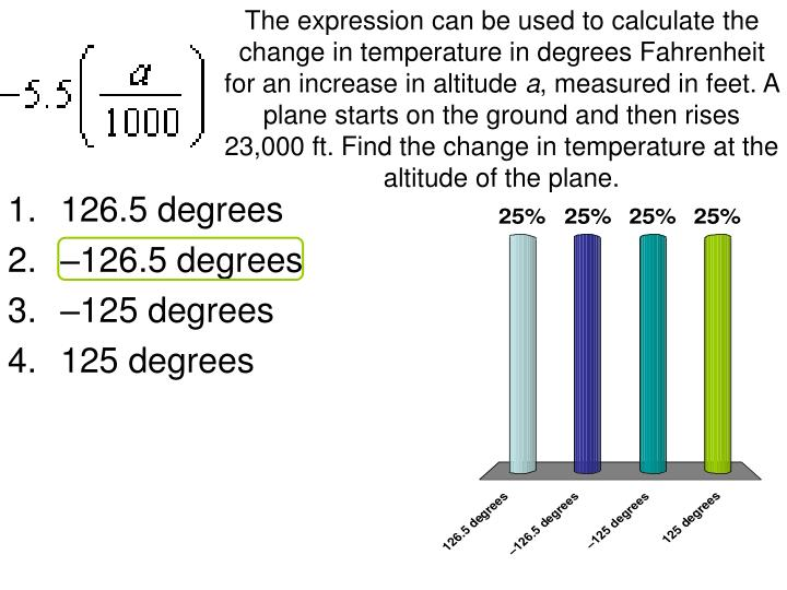 The expression can be used to calculate the change in temperature in degrees Fahrenheit for an increase in altitude