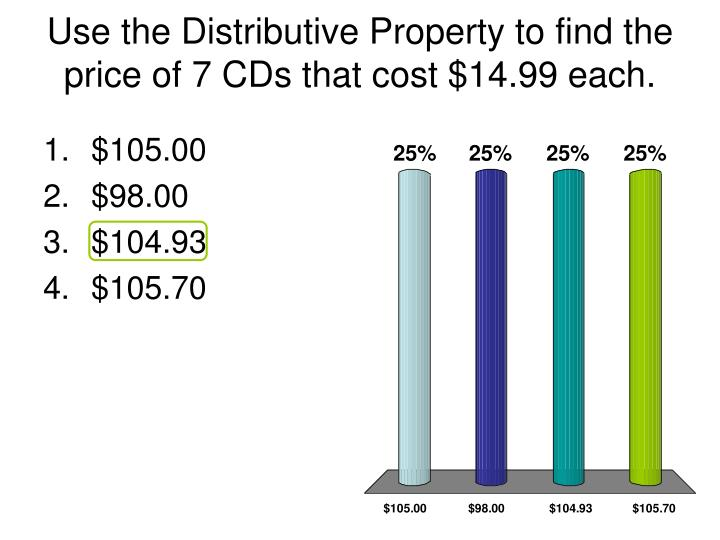 Use the Distributive Property to find the price of 7 CDs that cost $14.99 each.