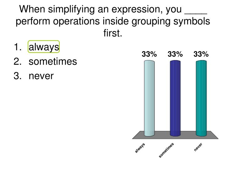 When simplifying an expression, you ____ perform operations inside grouping symbols first.