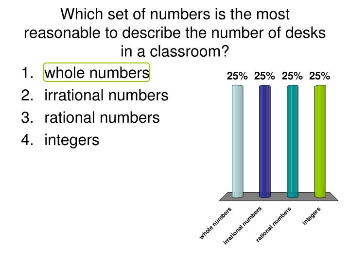 Which set of numbers is the most reasonable to describe the number of desks in a classroom?