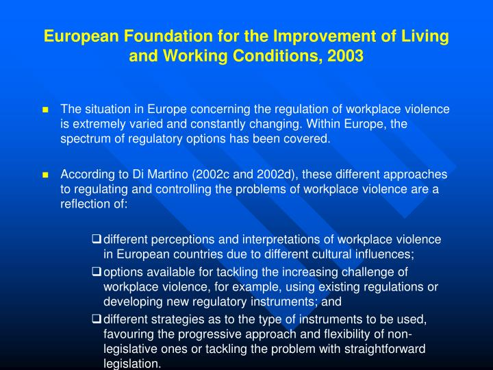 European Foundation for the Improvement of Living and Working Conditions, 2003
