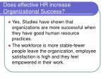 does effective hr increase organizational success