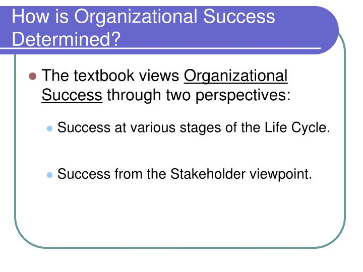 How is Organizational Success Determined?