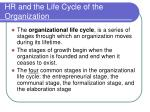 hr and the life cycle of the organization
