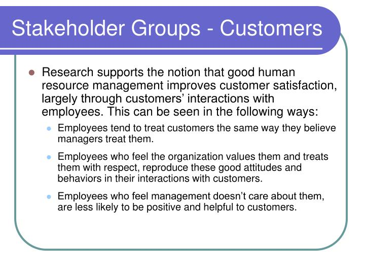 Stakeholder Groups - Customers