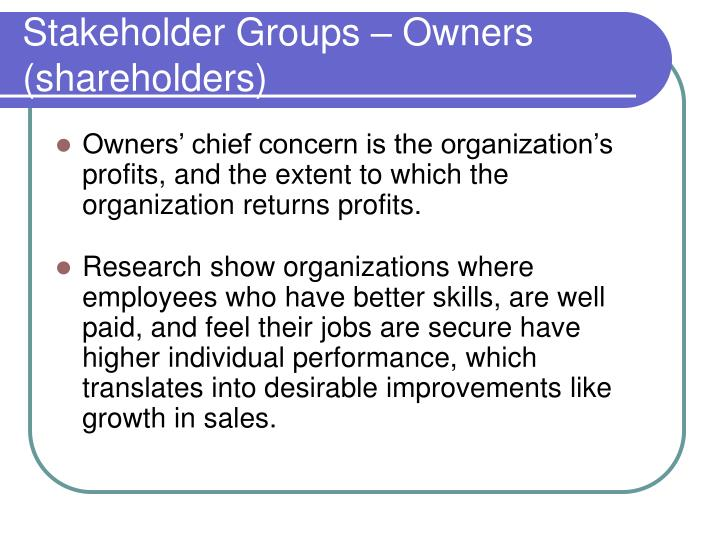 Stakeholder Groups – Owners (shareholders)