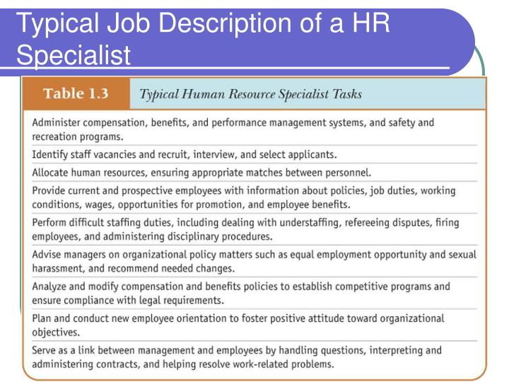 Typical Job Description of a HR Specialist