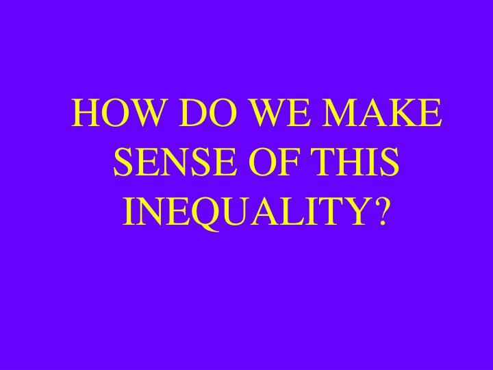 HOW DO WE MAKE SENSE OF THIS INEQUALITY?