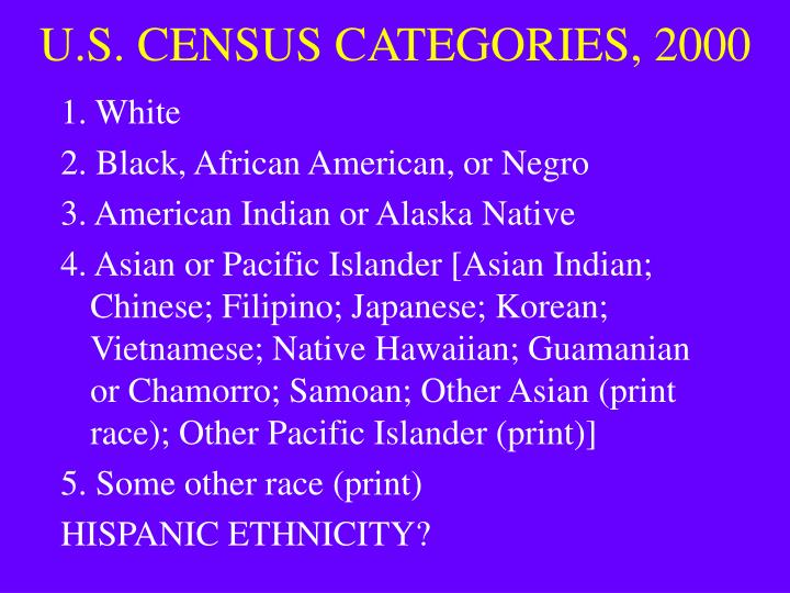U.S. CENSUS CATEGORIES, 2000
