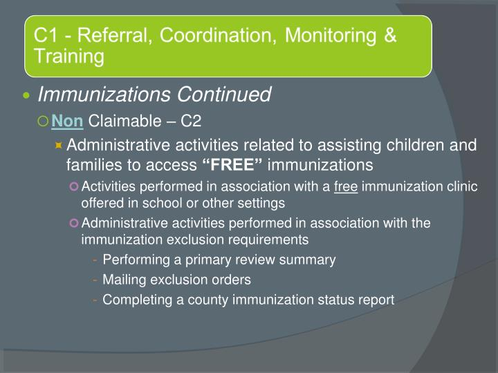Immunizations Continued