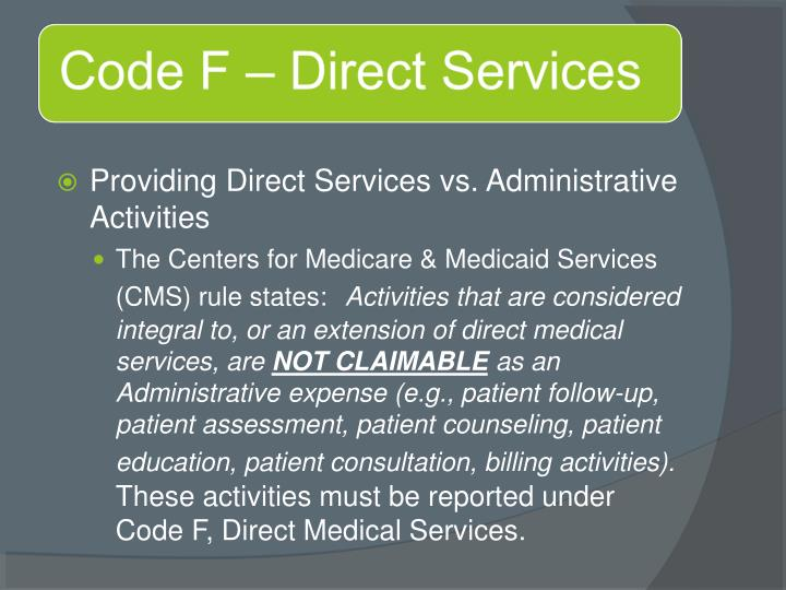 Providing Direct Services vs. Administrative Activities