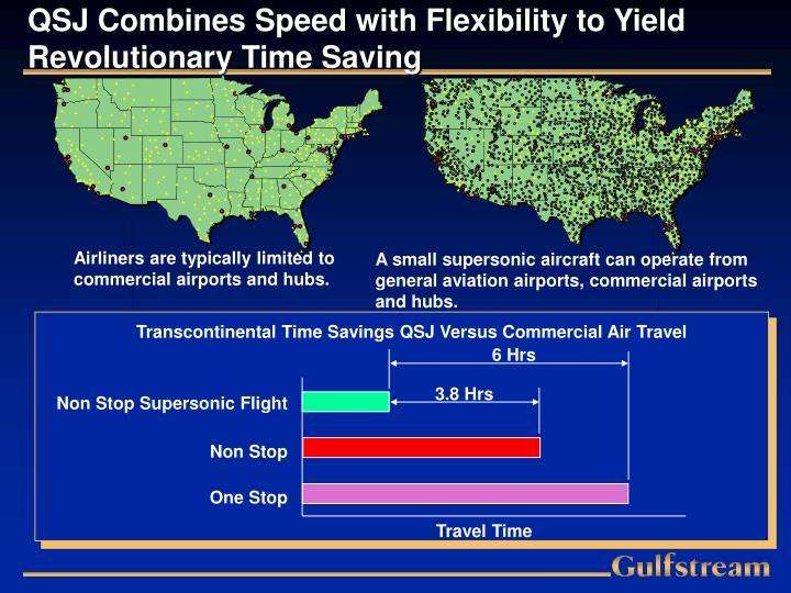 Transcontinental Time Savings QSJ Versus Commercial Air Travel