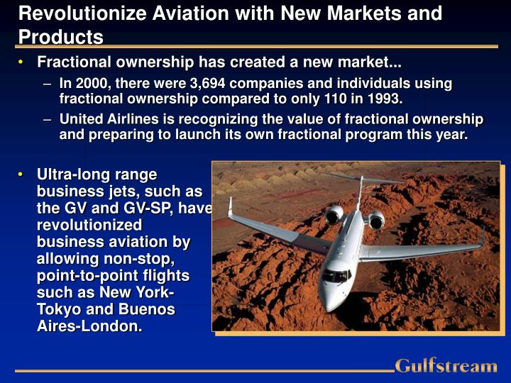 Revolutionize Aviation with New Markets and Products
