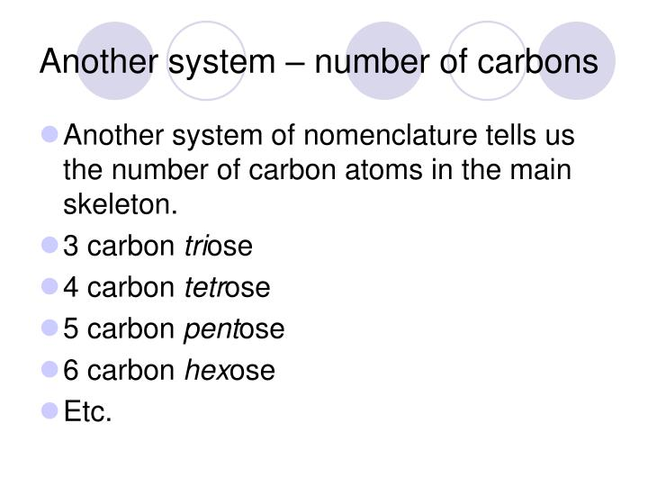 Another system – number of carbons
