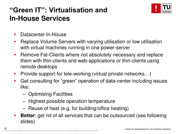 """Green IT"": Virtualisation and"